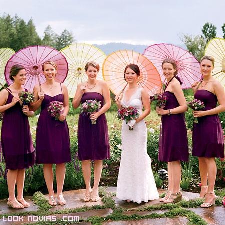Vestidos para damas de honor color uva