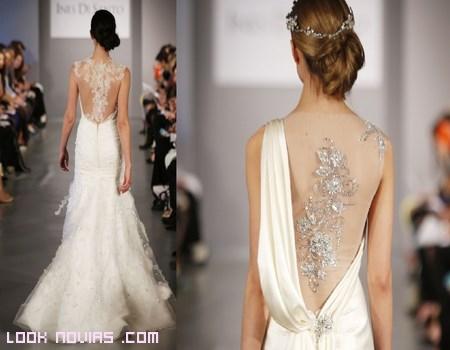 Vestido de novia con espalda de piedreria