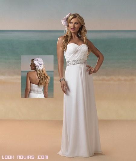 vestidos rectos de gasa para bodas en la playa