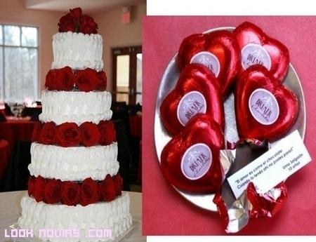 Decoración de bodas en color rojo pasión
