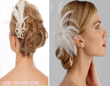 Peinados de novia con plumas