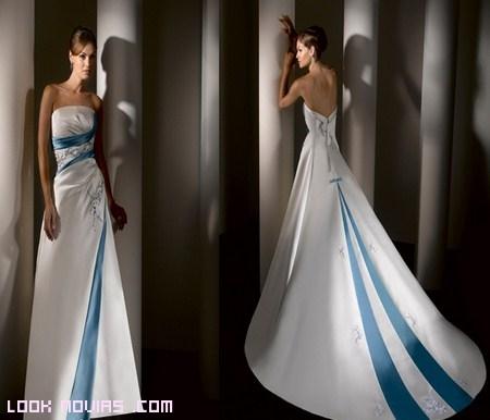 Vestidos de novia blanco con detalles azules