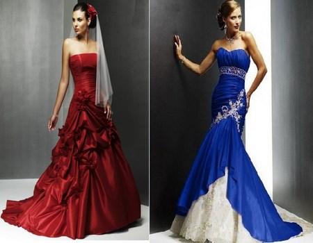 Vestidos de novia en rojo y azul
