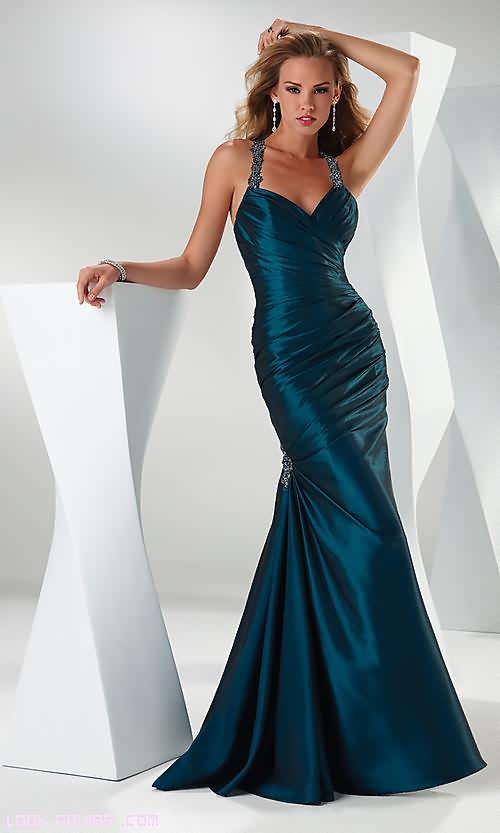 Vestidos drapeados largos corte sirena