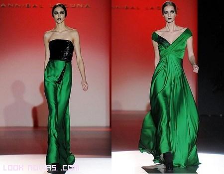 vestidos verdes con escote