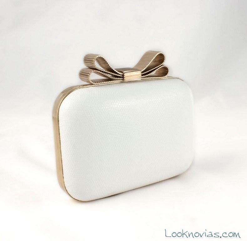 bolso caja blanco con lazo