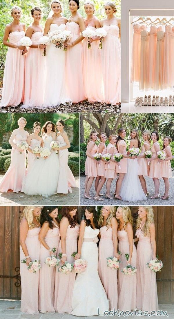 damas de honor en tonalidades pastel