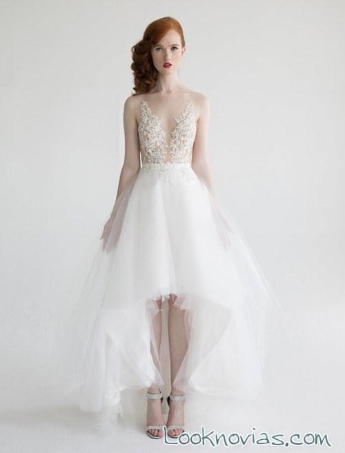 falda asimétrica para novias aria