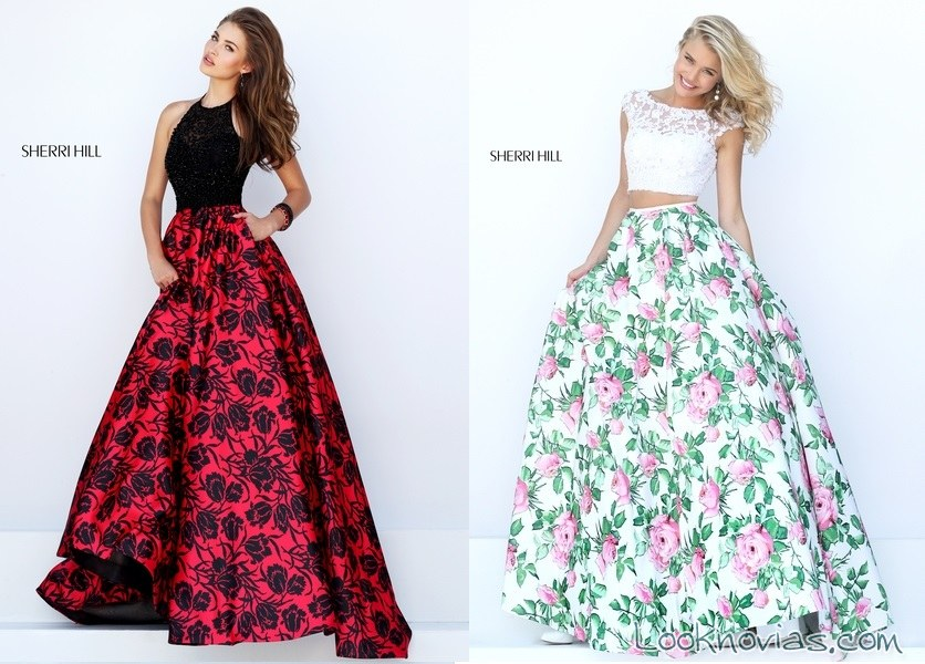 faldas florales de sherri hill