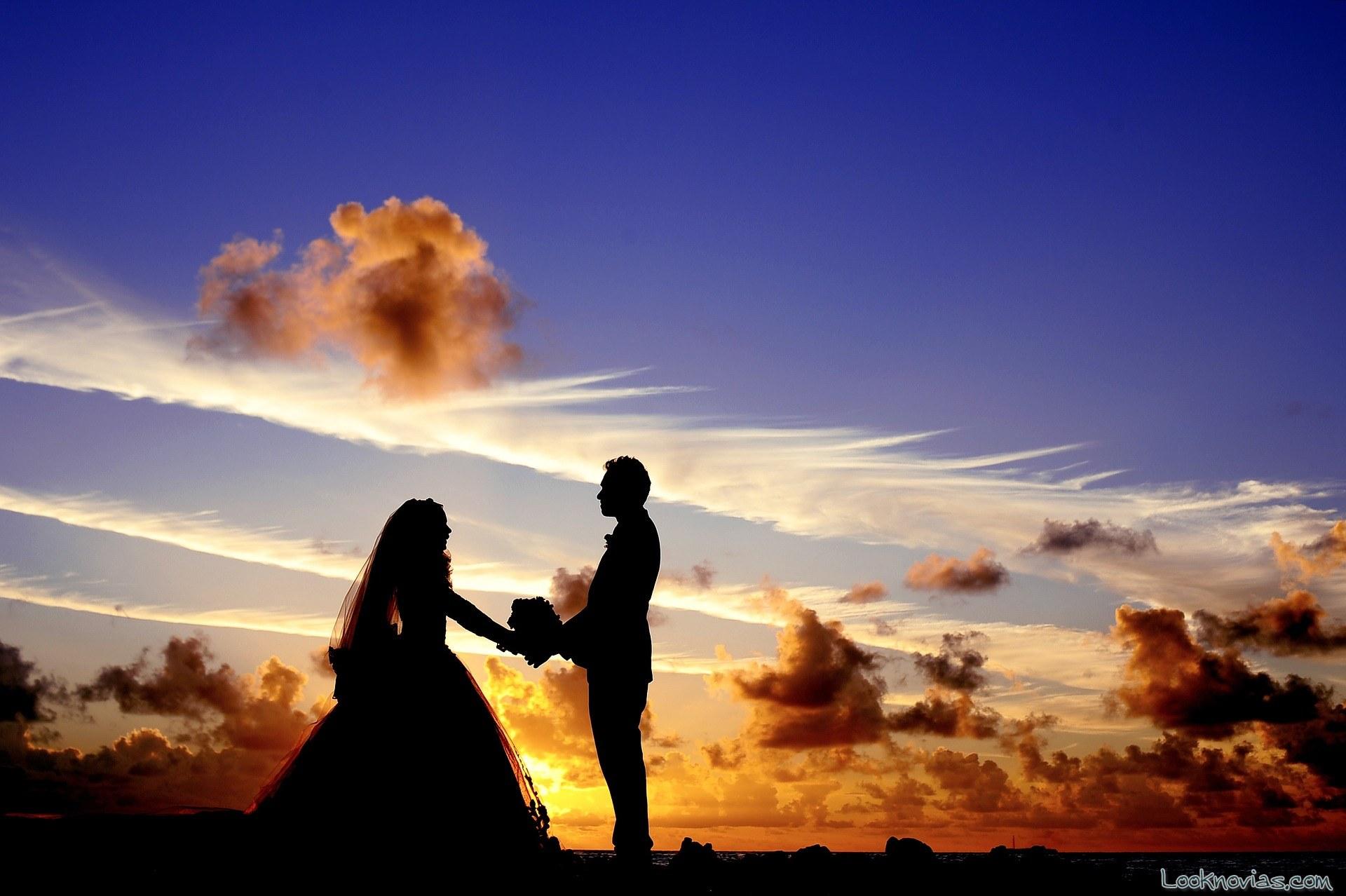 fotos de boda para novios en contraste de luces