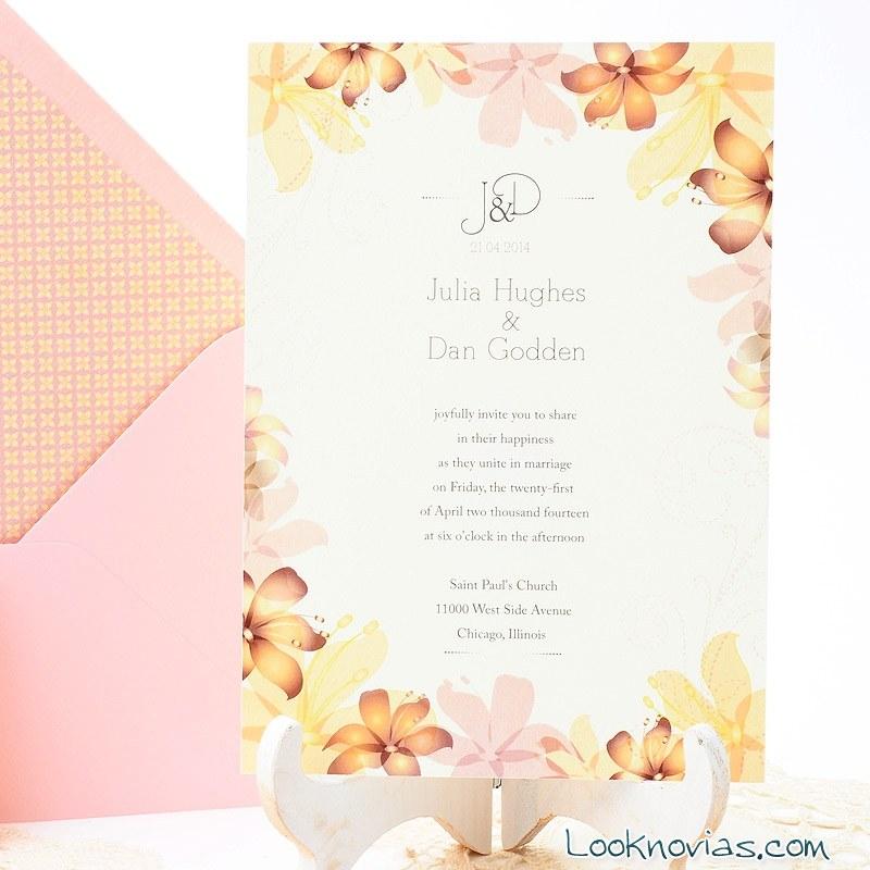 invitación bohemia en rosa