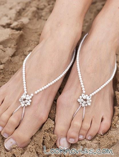 pulseras con perlas para pies