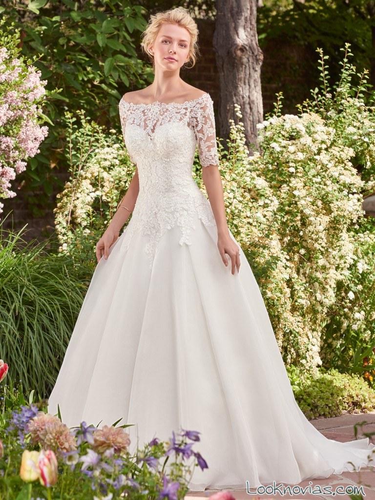 rebecca ingram vestido de novia con media manga