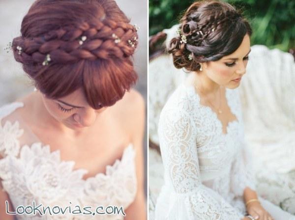 Peinado de novia semirecogido con trenza