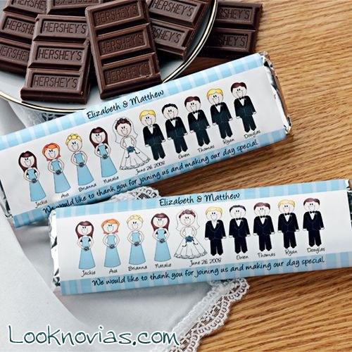 Tabletas de chocolate personalizadas para bodas