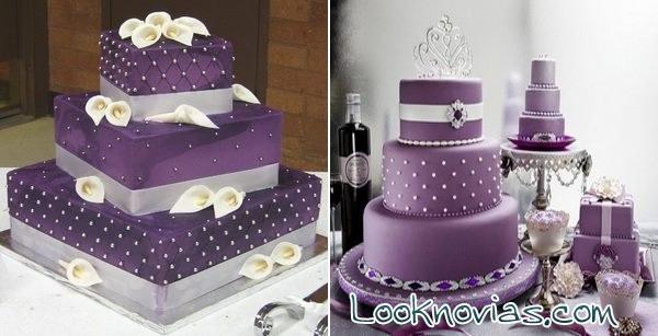 tartas de boda en color lila