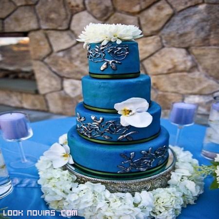 Tartas nupciales en color azul