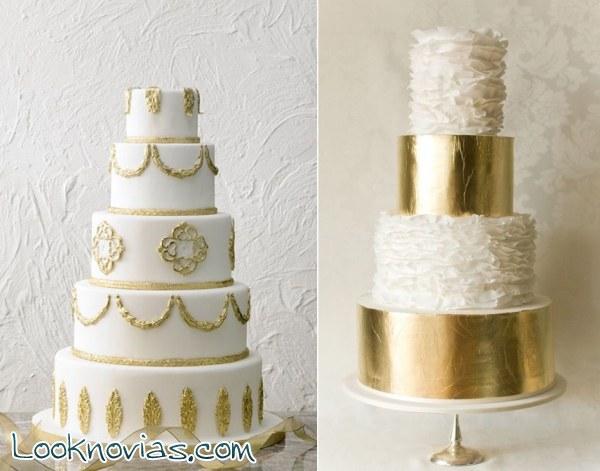Tartas elegantes con toques en dorado