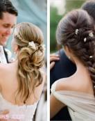 Novias con peinados de trenzas y flores