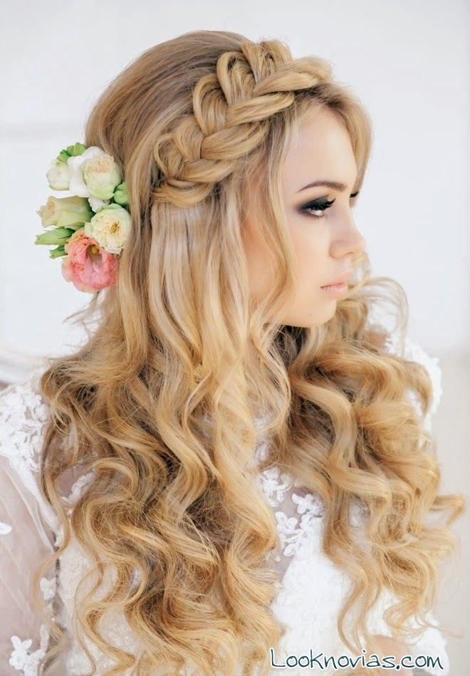 trenza para novia con flores
