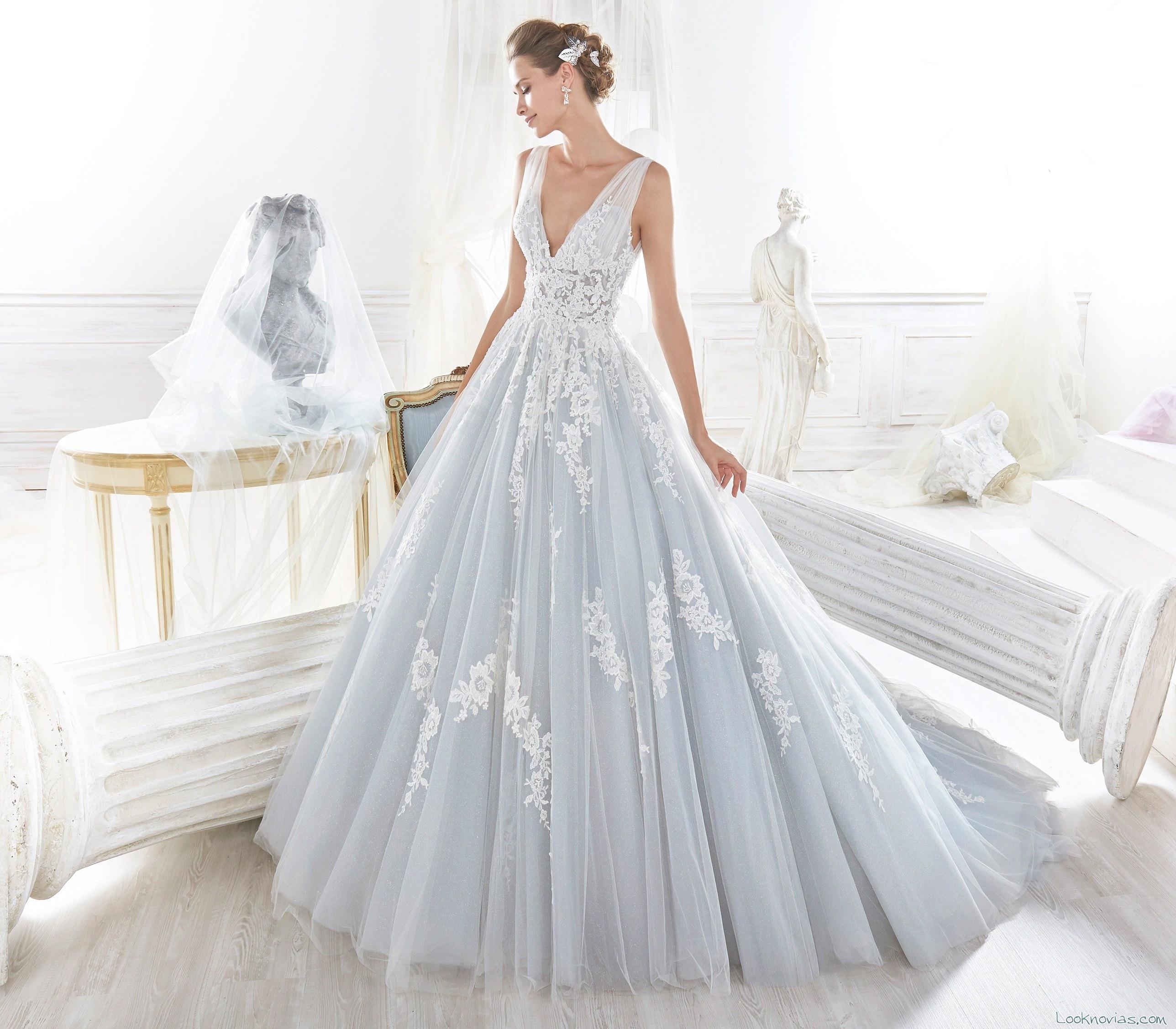 vestido azul nicole spose novias 2018