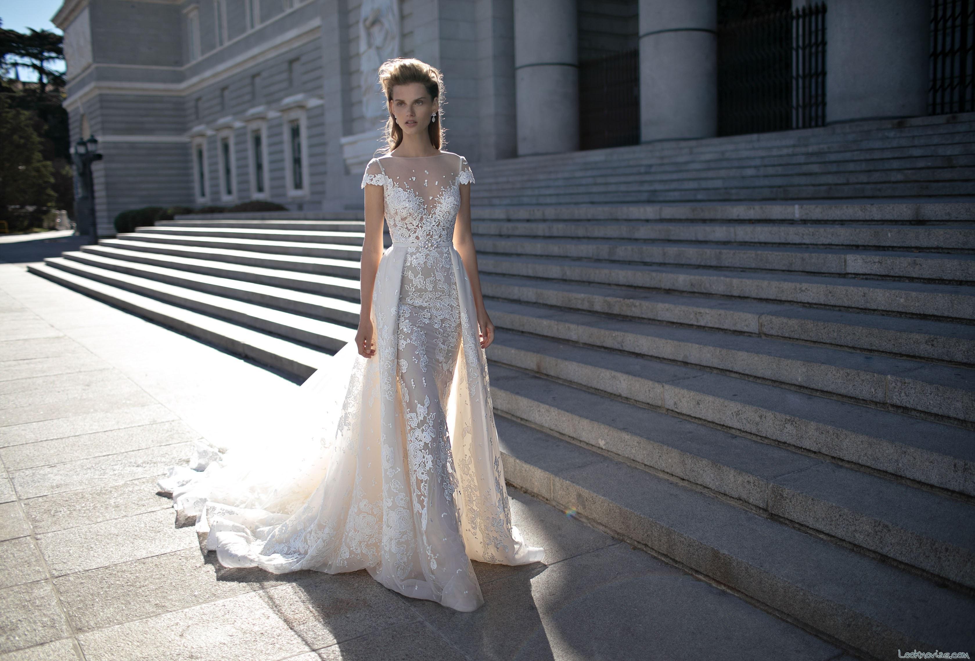 vestido berta bridal con doble falda y escote