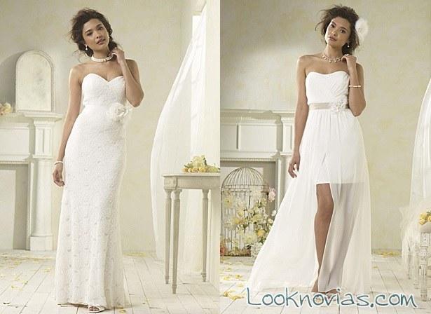 vestido blanco asimétrico alfred angelo
