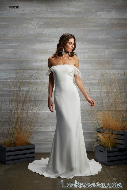 vestido blanco de escote hombros caídos