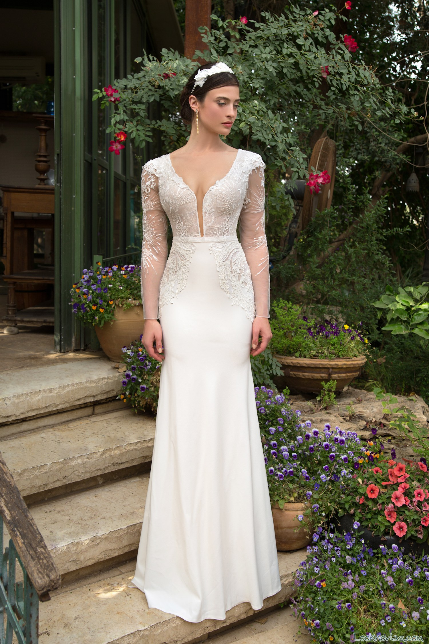 vestido blanco elegante para novias 2017