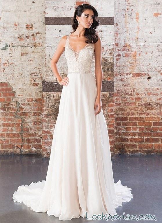 vestido blanco signature con plisados 2017