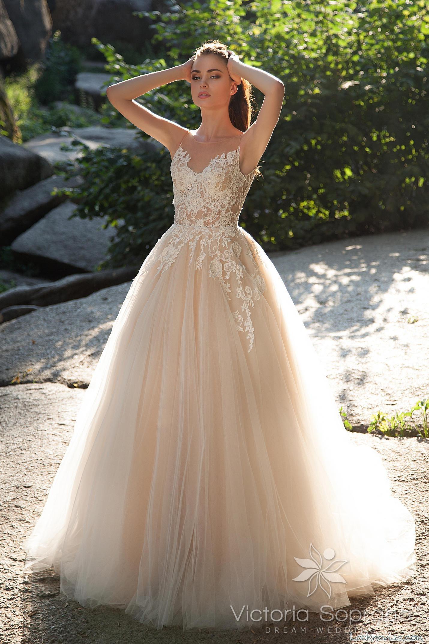 vestido color melocotón novias princesa