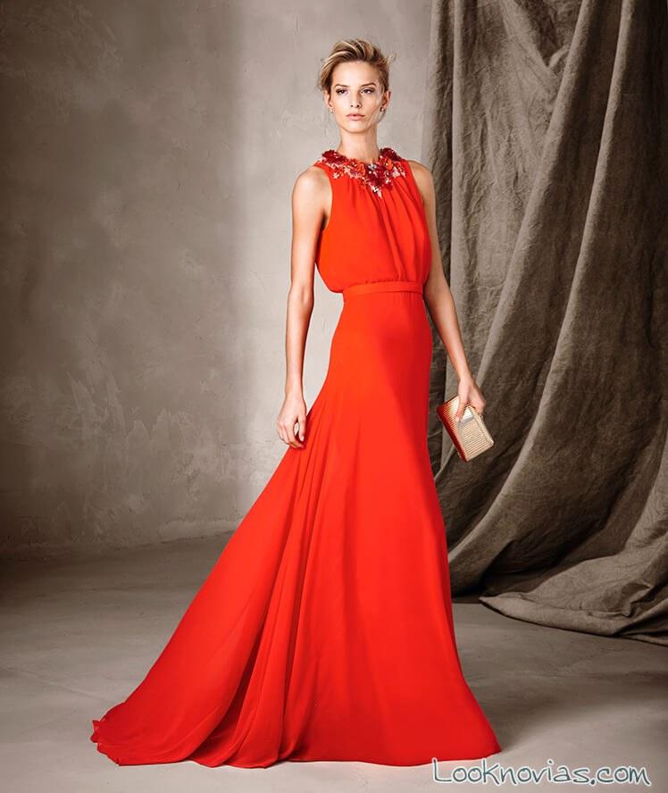 vestido color rojo pronovias 2017