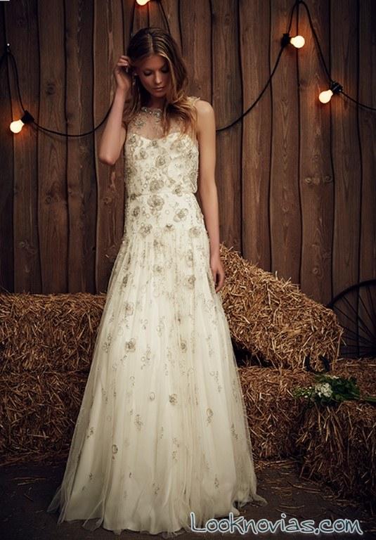 vestido con flores en relieve jenny packham