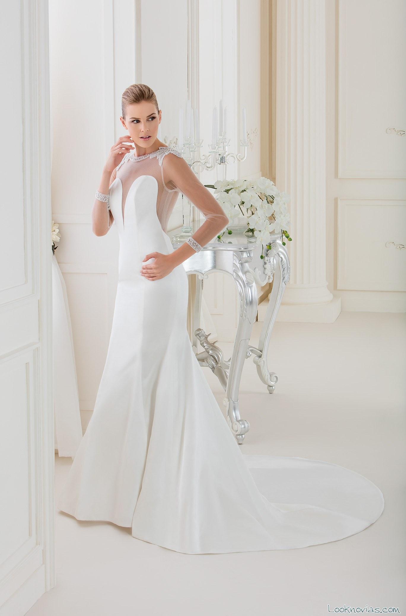 vestido con mangas de tul impero sposa