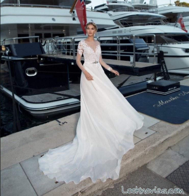 vestido con mangas novias nicole spose