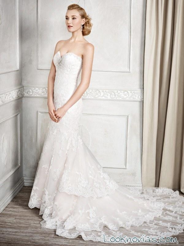 vestido corte sirena blanco con cola encajes