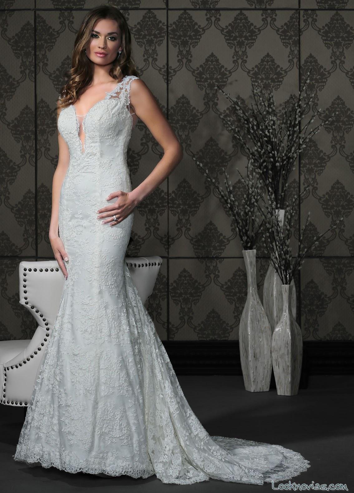 vestido corte sirena tirantes impression bridal