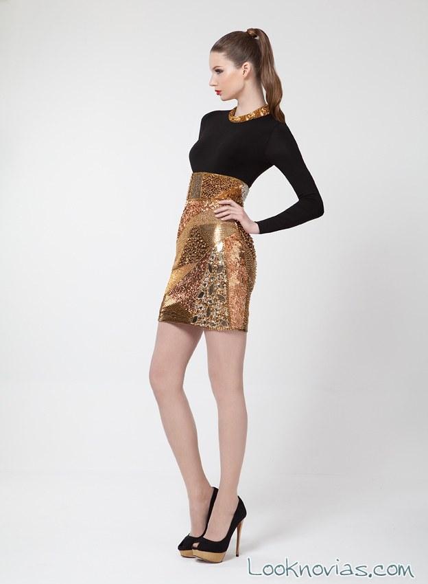 vestido corto negro y dorado