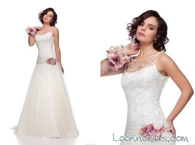 vestido de encajes blanca miret