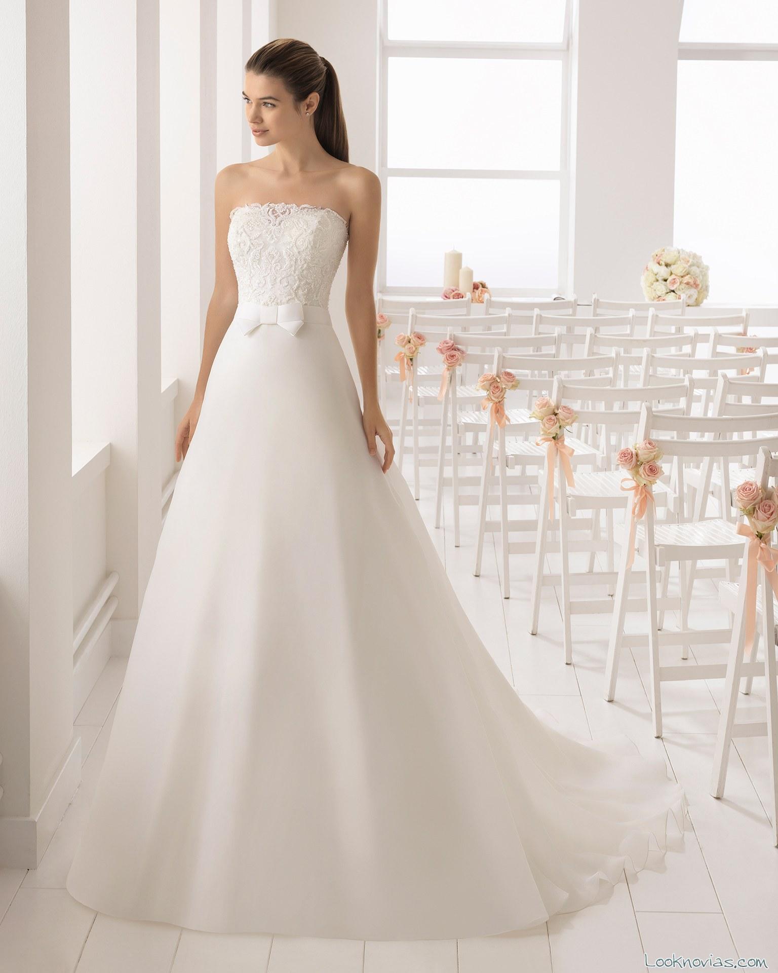 vestido de falda lisa novias 2018