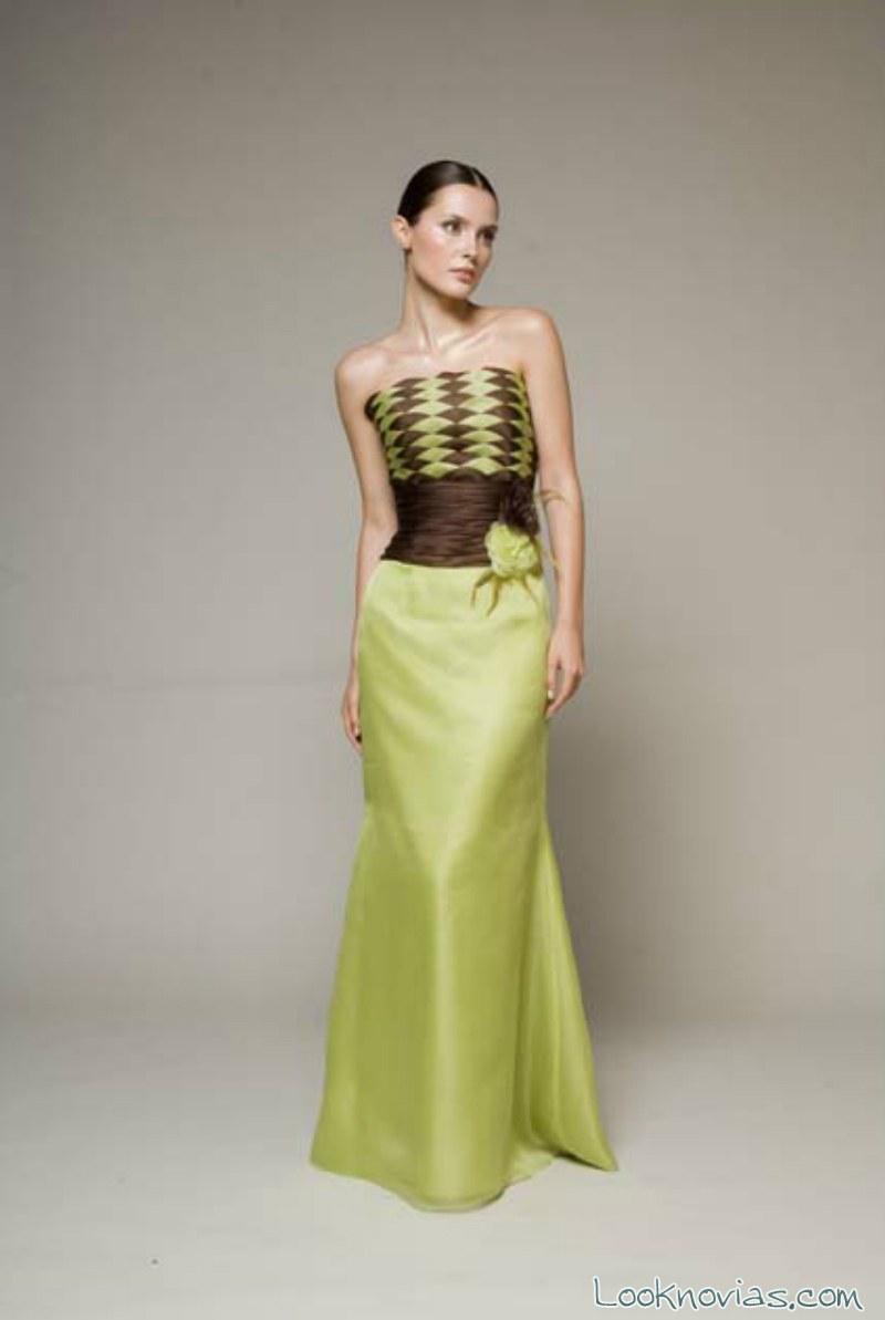 vestido de fiesta verde y marron