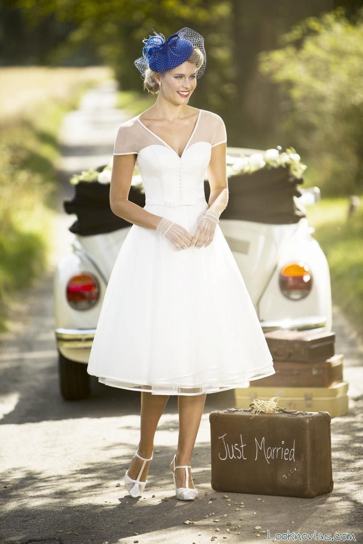 vestido de manga corta novias vintage
