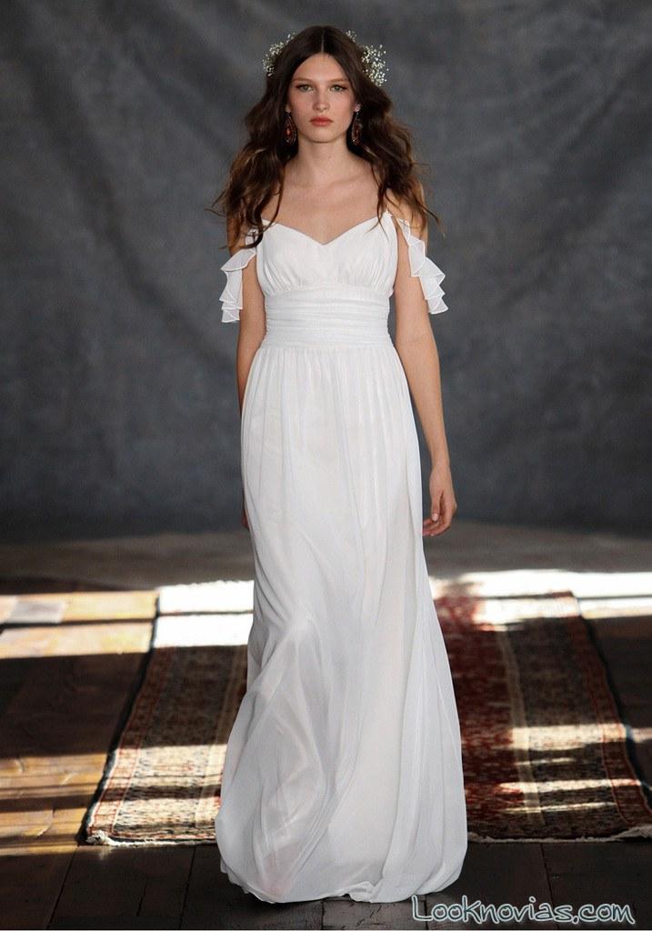 vestido de novia bohemio de hombros caídos