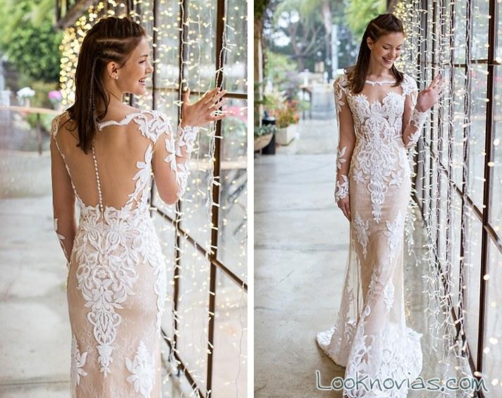 vestido de novia ceñido con bordados