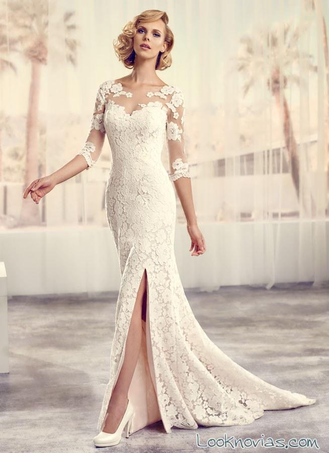 vestido de novia con abertura en las piernas modeca