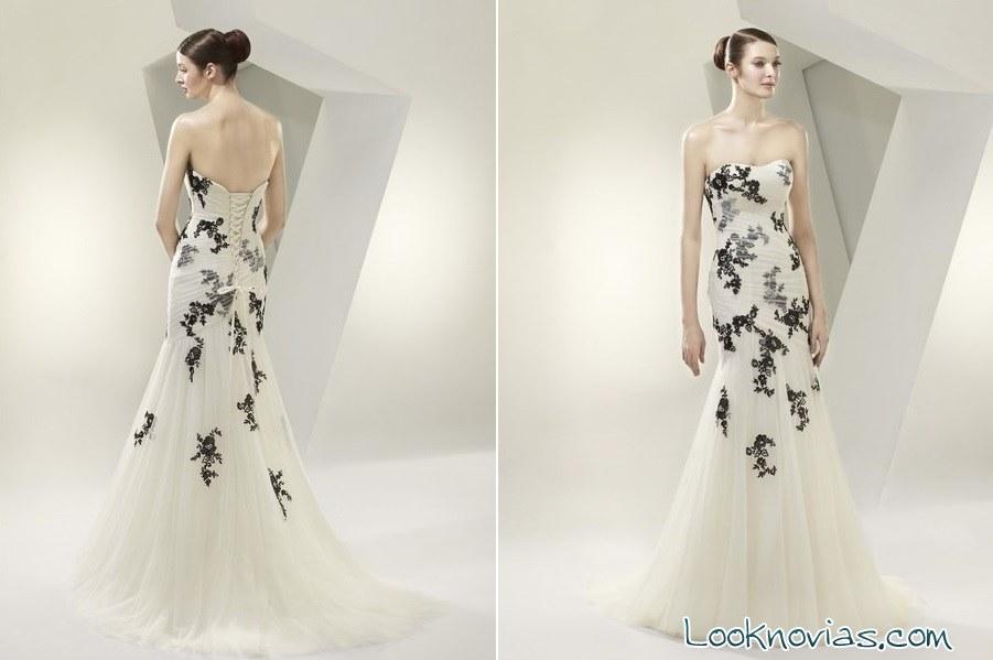 Vestidos de novia blanco con negro sencillos