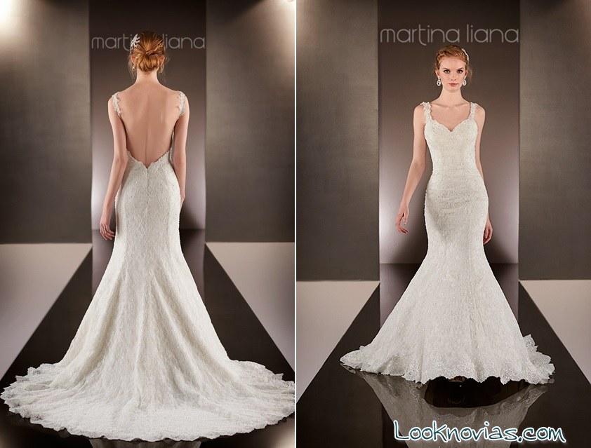 vestido de novia con escote trasero