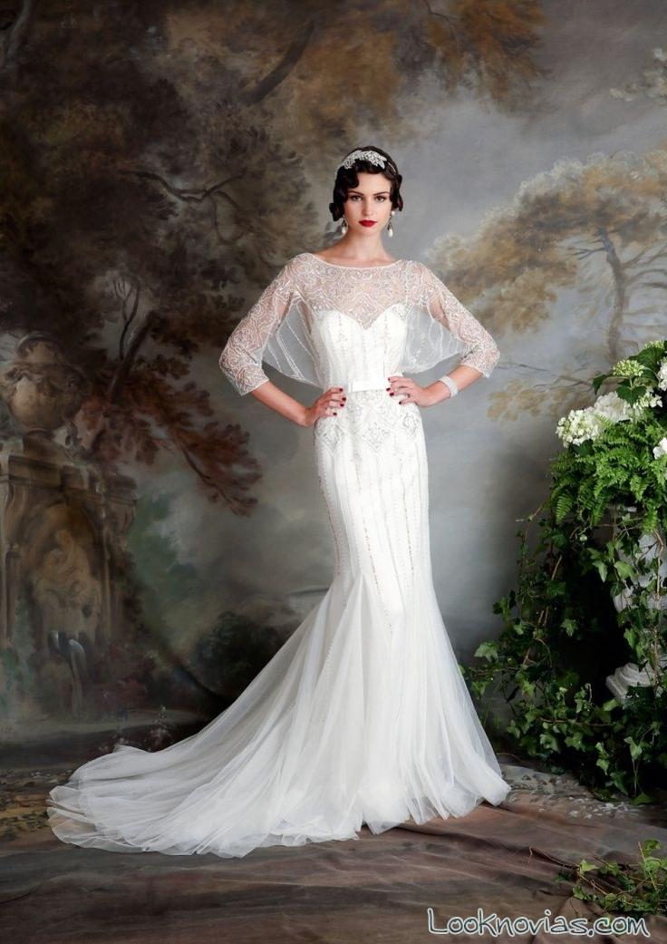 vestido de novia con mangas transparentes