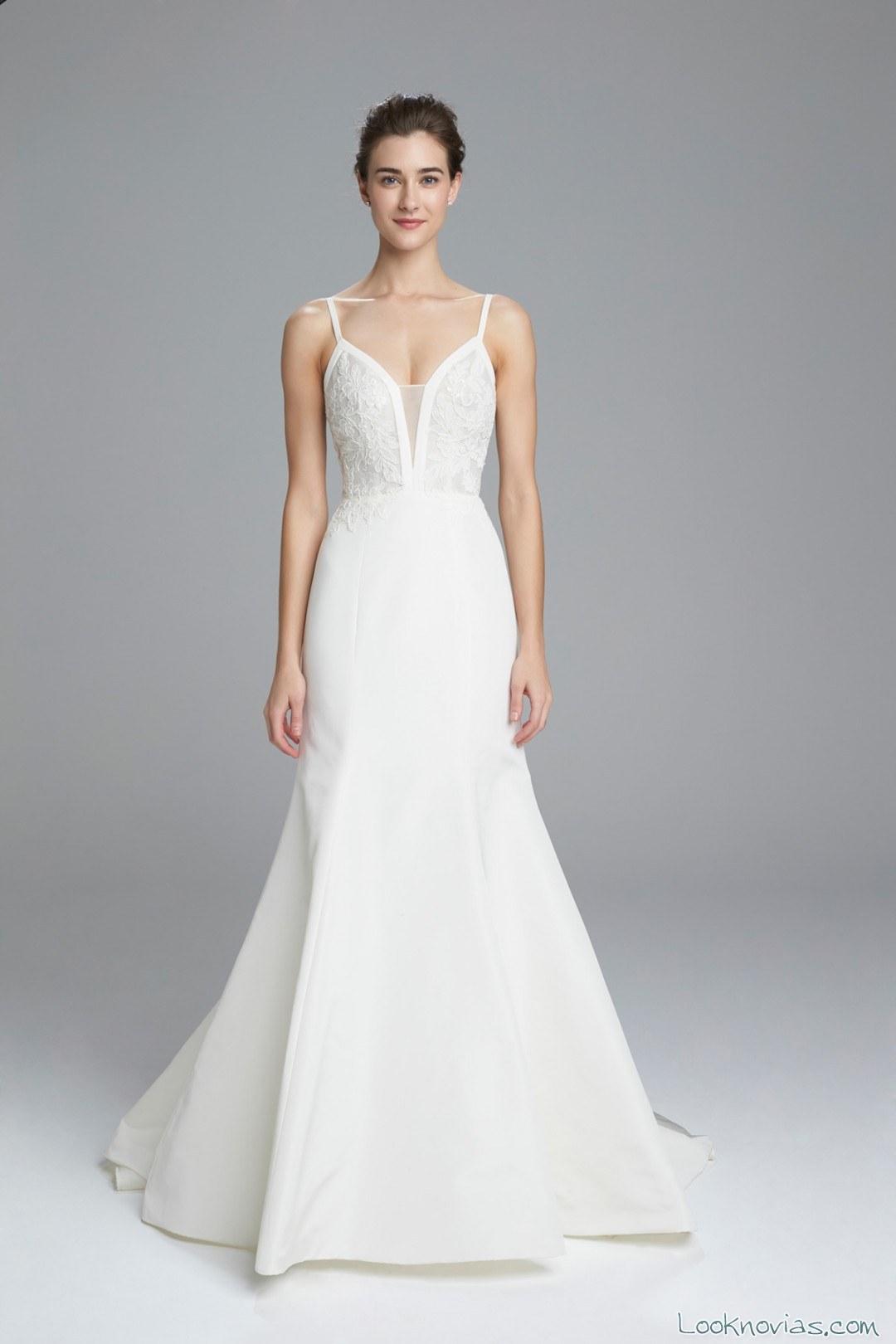 vestido de novia con tirantes finos amsale