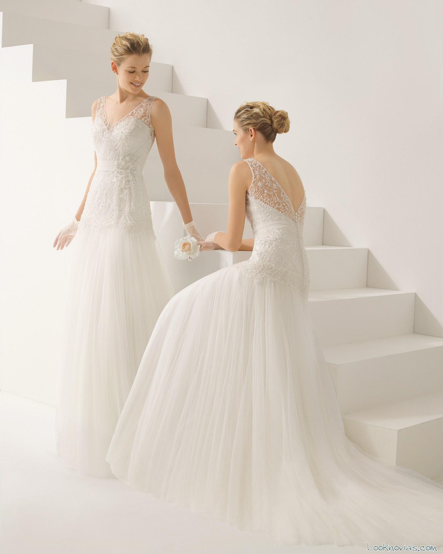 vestido de novia con tirantes transparentes